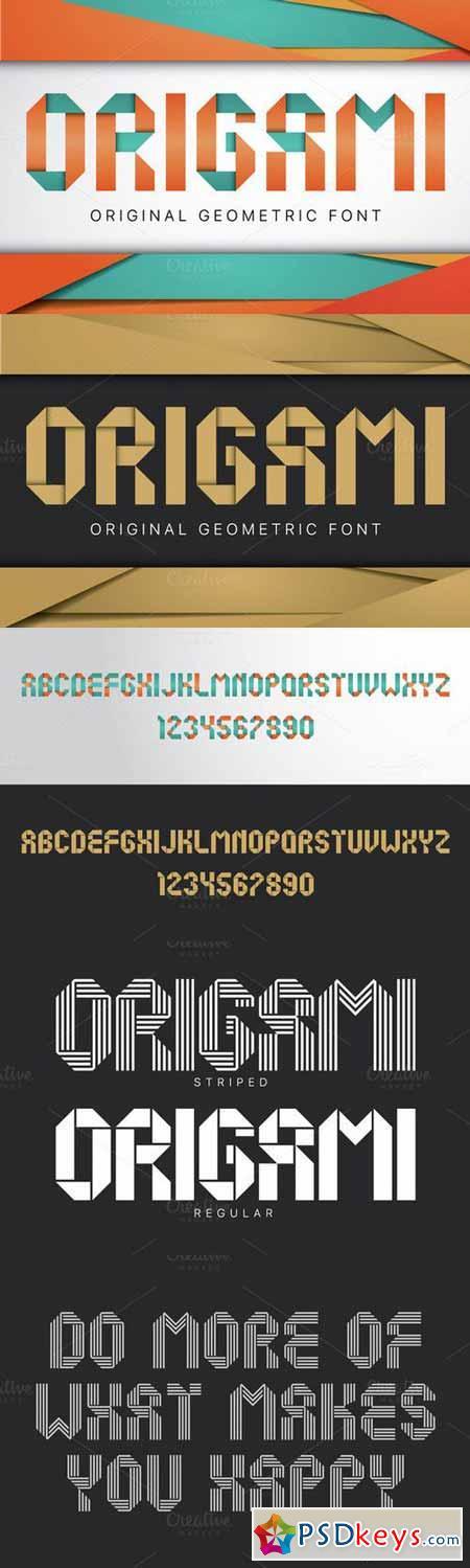 Origami geometric typeface 588459