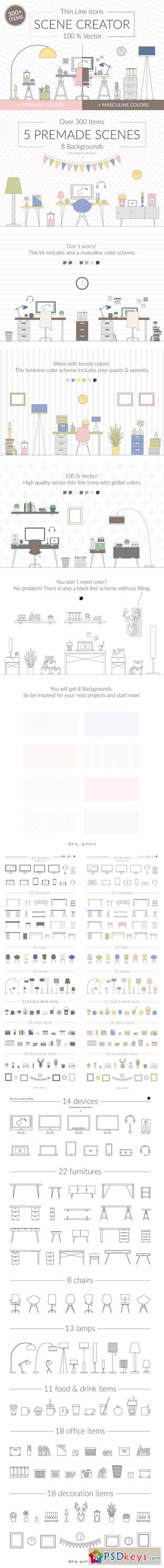Vector Thin Line Scene Creator 583830