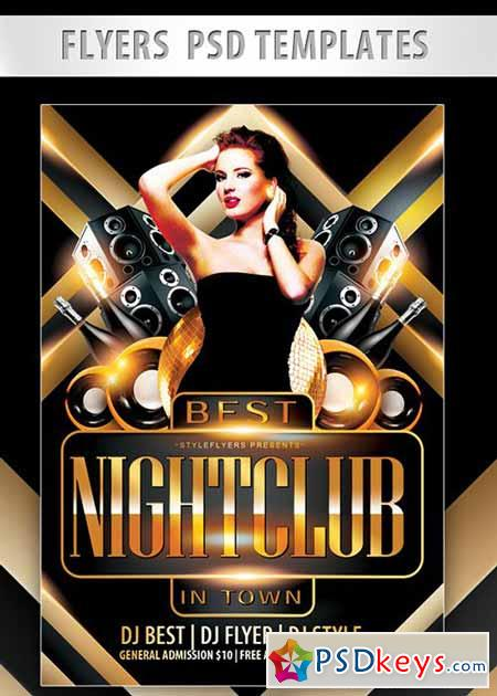 Best Nightclub in Town Flyer PSD Template + Facebook Cover