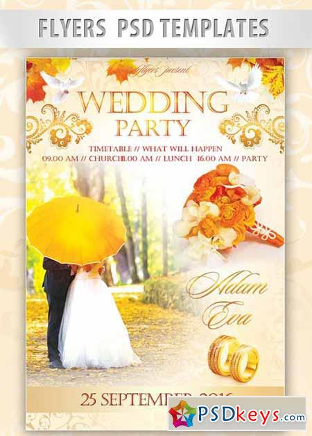 Wedding Party Flyer PSD Template + Facebook Cover