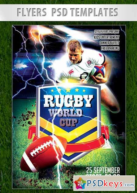 Rugby World Cup Flyer PSD Template + Facebook Cover