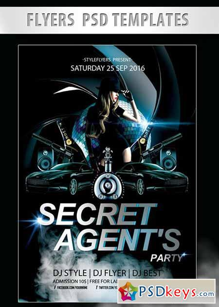 Secret Agent's Party Flyer PSD Template + Facebook Cover