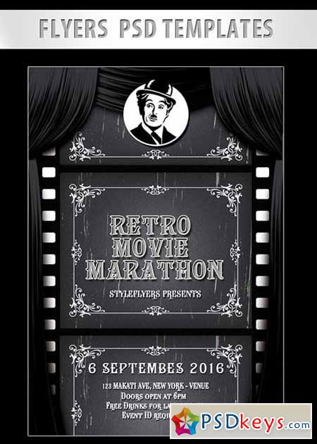 Retro Movie Marathon Flyer PSD Template + Facebook Cover