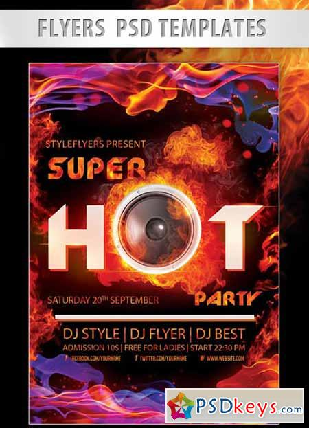 Super Hot Night Flyer PSD Template + Facebook Cover