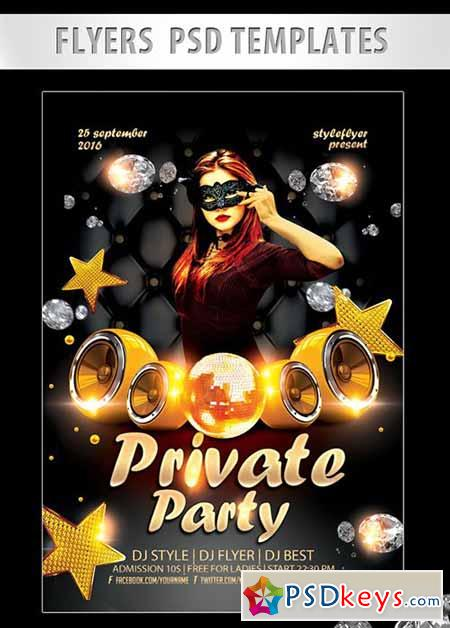 Private Party Flyer PSD Template + Facebook Cover