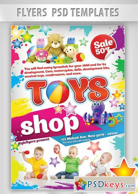 Toys Shop Flyer PSD Template + Facebook Cover