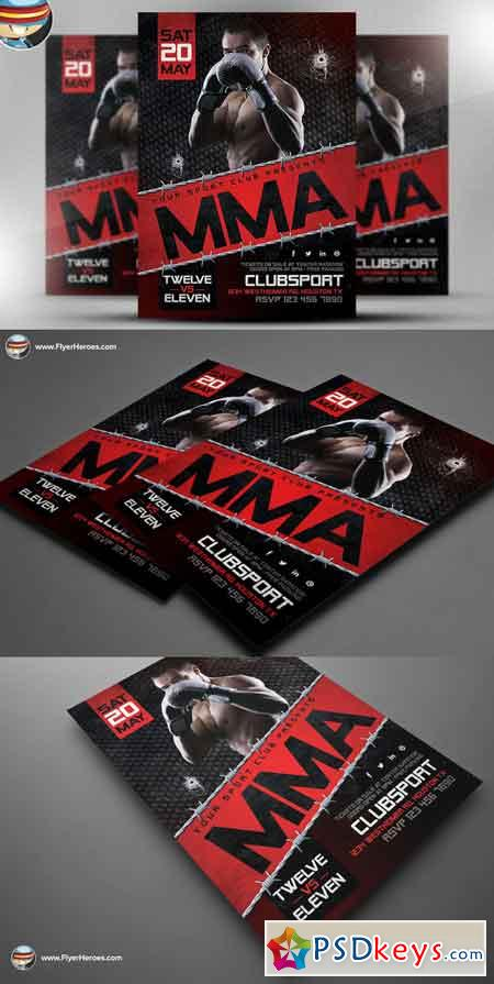 Mma Flyer Template    Free Download Photoshop Vector Stock
