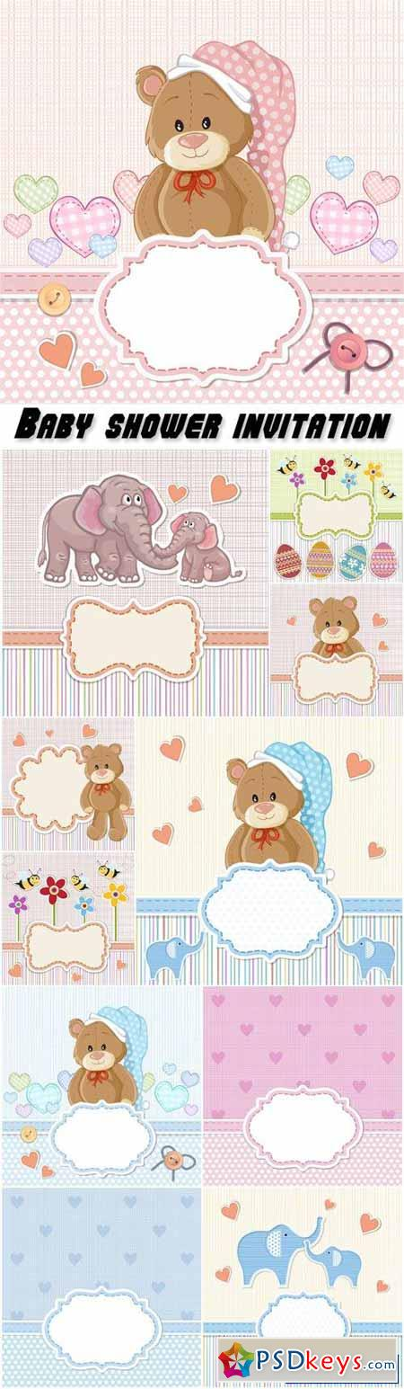 Baby shower invitation, teddy bear for baby