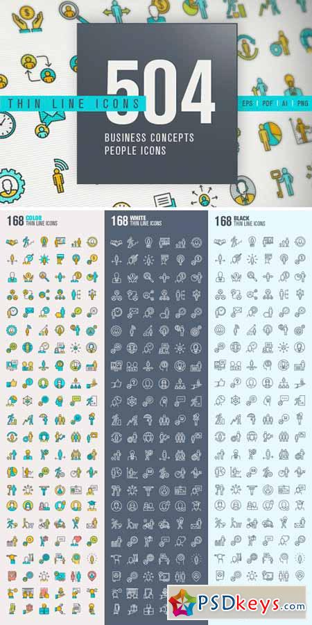 Thin Line People Icons Bundle 329557