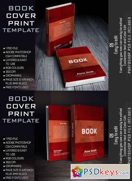 Book Cover Template 609196 » Free Download Photoshop Vector