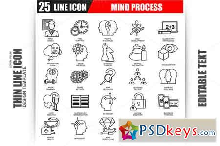 Thin Line Mind Process Icons 609812