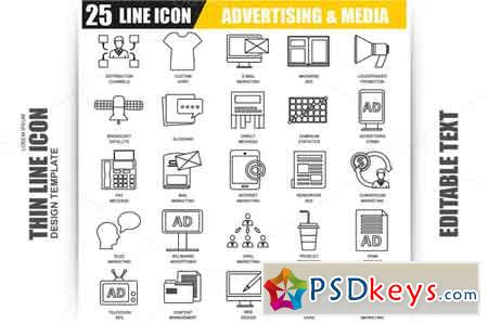 Thin Line Advertising Icons 609847