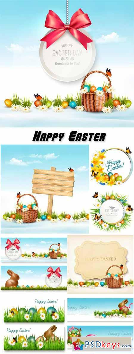 Holiday easter banners with basket and eggs and gift card
