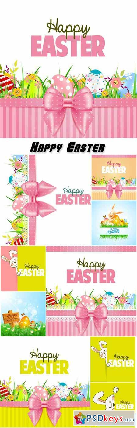 Vector Easter with bunnies and pink ribbons