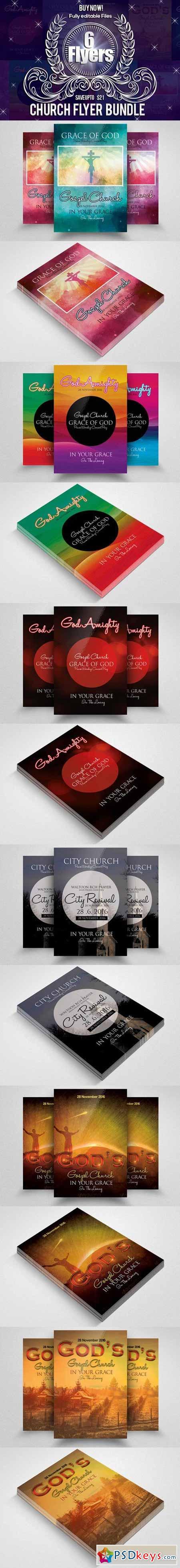 6 Jesus Church Flyer Bundle 614689
