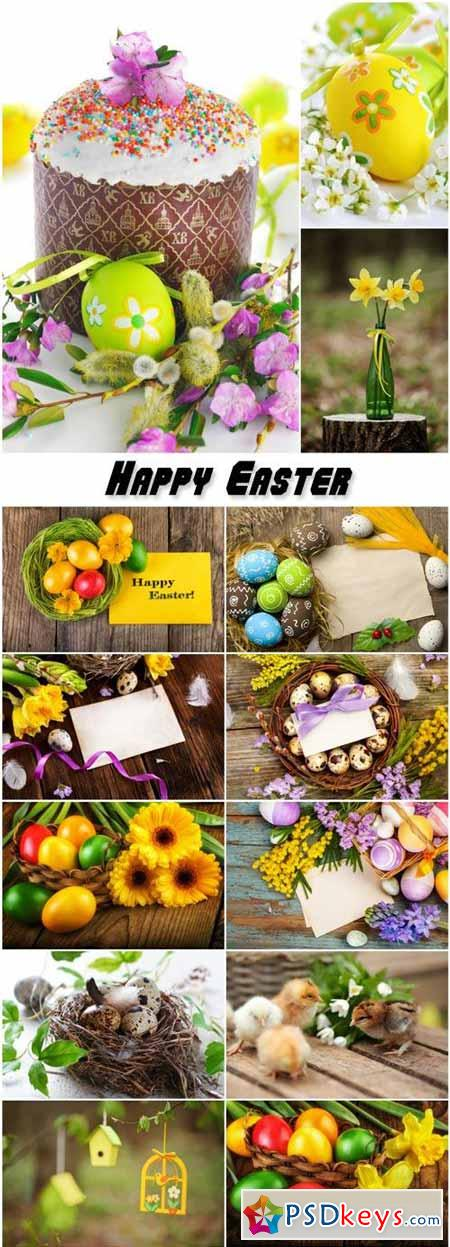 Happy Easter, easter eggs, spring flowers, greeting card and text