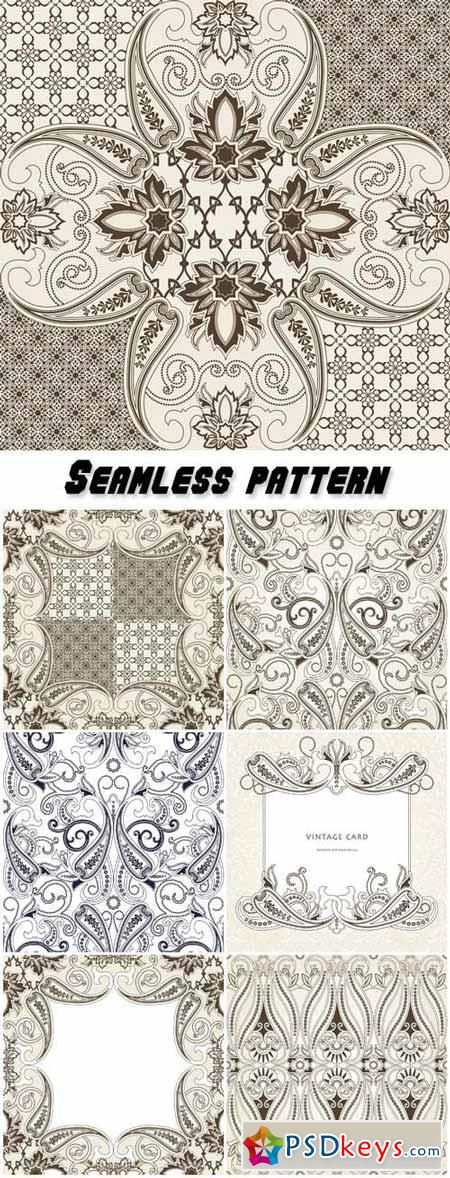 Seamless pattern with paisley, floral background with oriental motifs in pastel colors