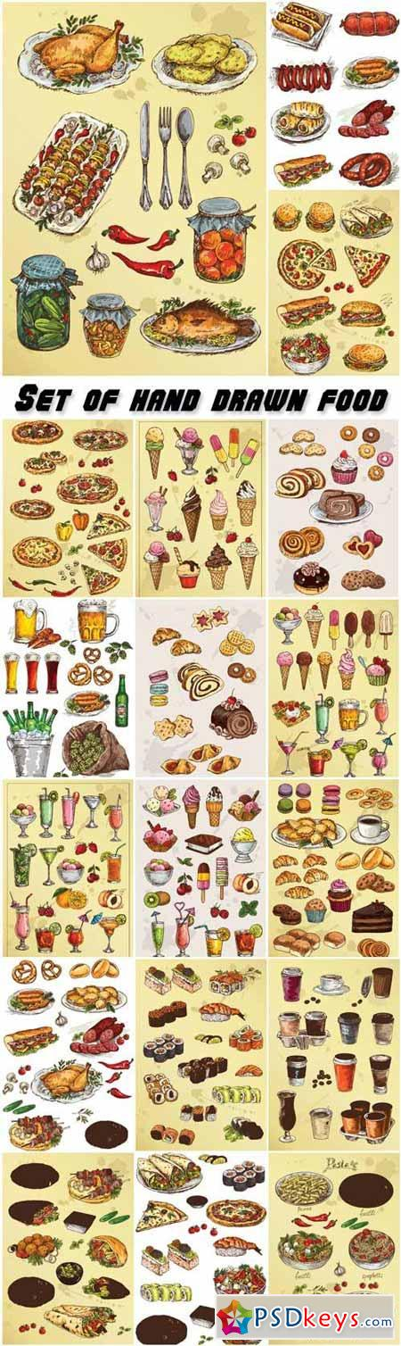 Set of hand drawn food, cakes and cookies