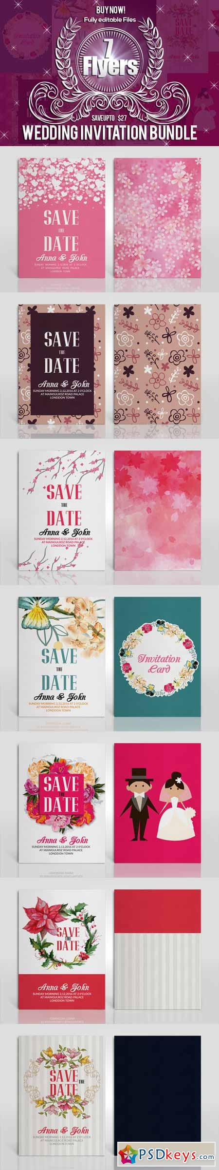Two Sided Wedding Invitation Bundle 614597 187 Free Download
