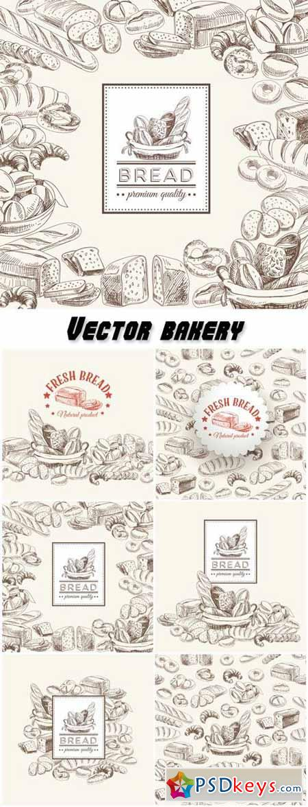 Vector bakery retro background