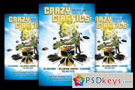 Crazy Classics 80's Party » Free Download Photoshop Vector