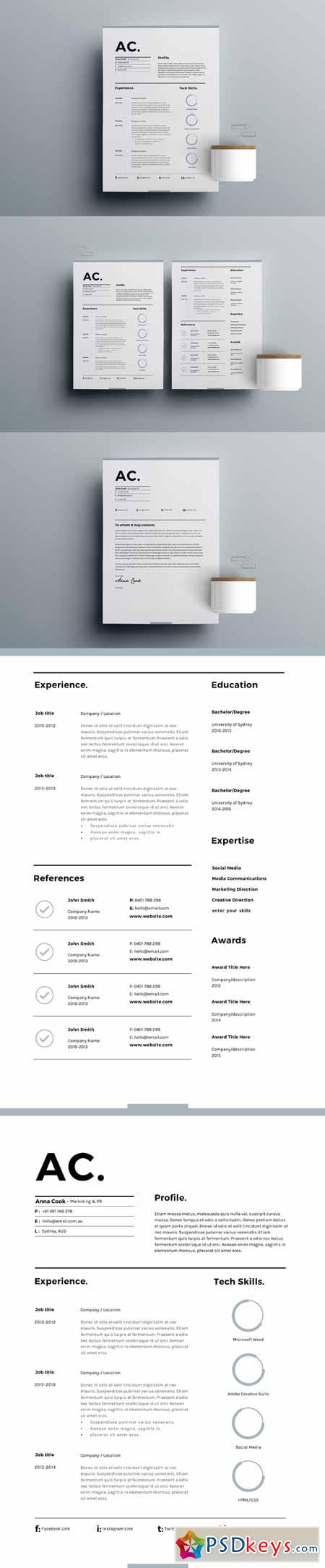 resume template 3 page cv template 636078  u00bb free download photoshop vector stock image via