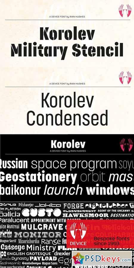 Korolev Military Stencil Font $49