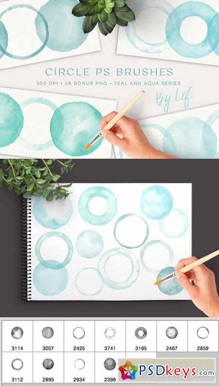 Watercolor Circles Photoshop Brushes 634719