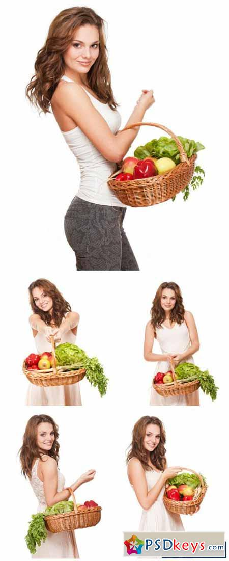 Girl with a basket of fresh vegetables, grocery stores