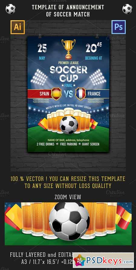 Soccer Flyer Template | Soccer Poster Flyer Template 611542 Free Download Photoshop Vector