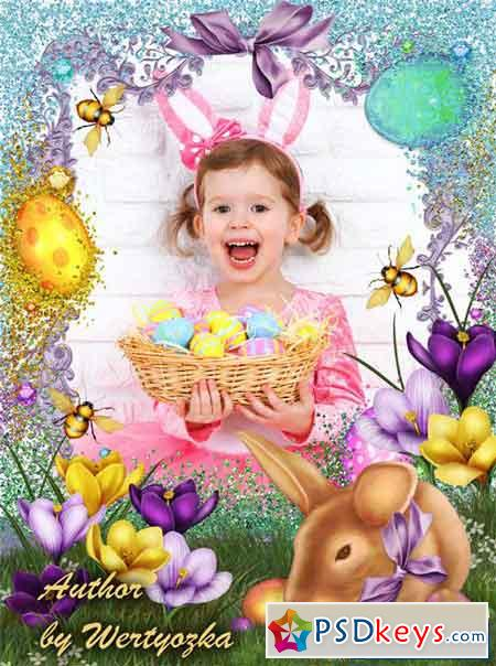 Happy Easter, easter frame with bunny and flowers