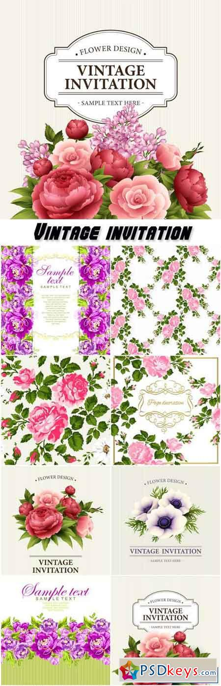 Vintage invitation, vector backgrounds with patterns and ornaments