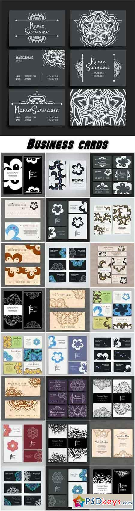 Business cards vector, arabian patterns