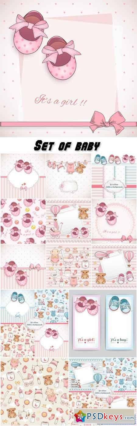 Set of baby booties and decorative backgrounds