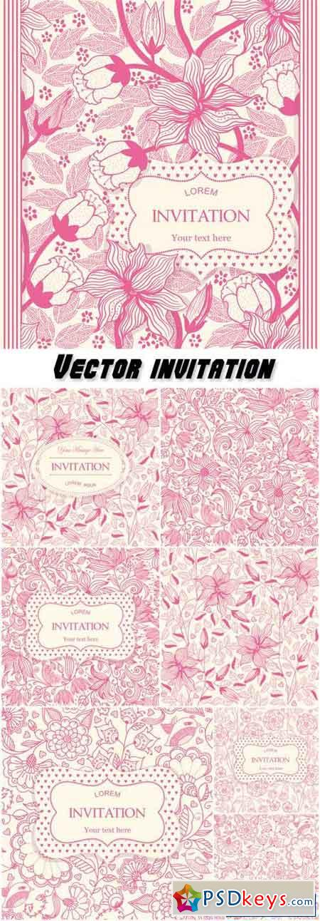 Vector invitation with flowers, floral patterns