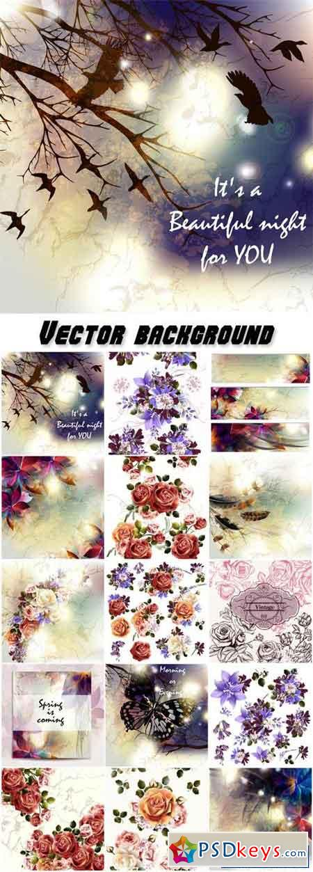 Vector background with flowers, wedding invitations