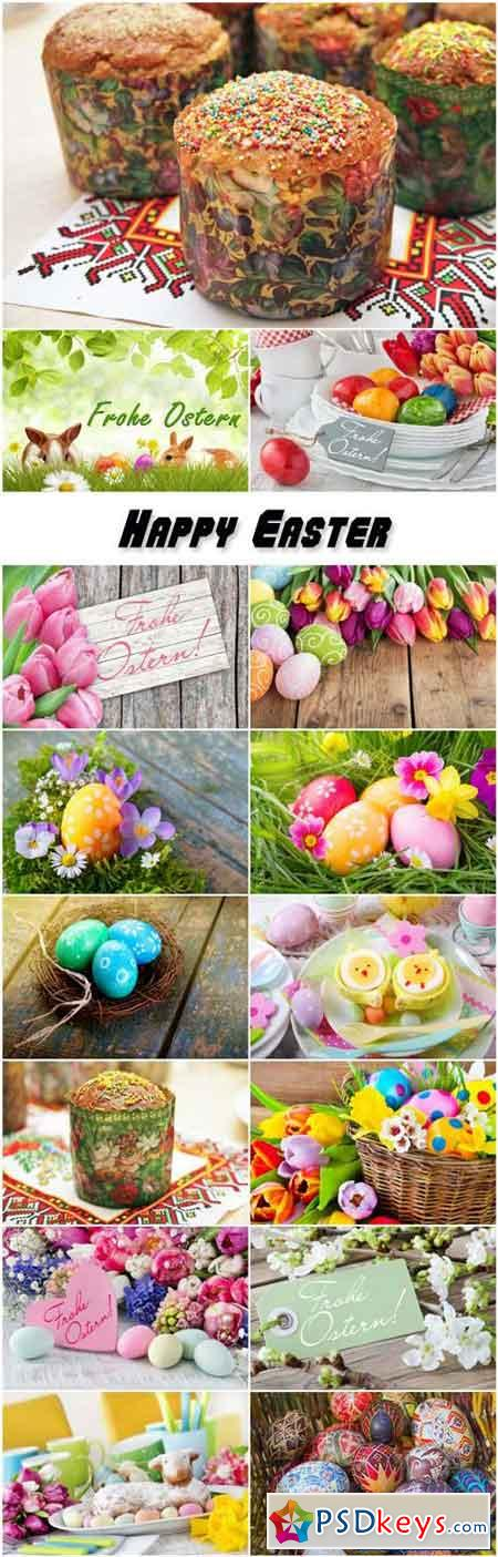 Happy Easter, flowers, easter eggs and easter cake