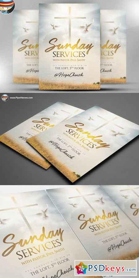 Sunday Services Flyer Template 2 615089 Free Download Photoshop