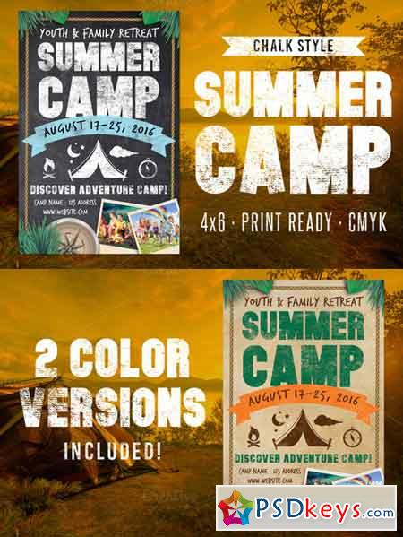 Chalk Summer Camp Flyer 635922 » Free Download Photoshop Vector