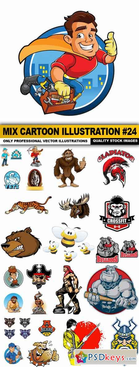 Mix cartoon Illustration #24 - 25 Vector