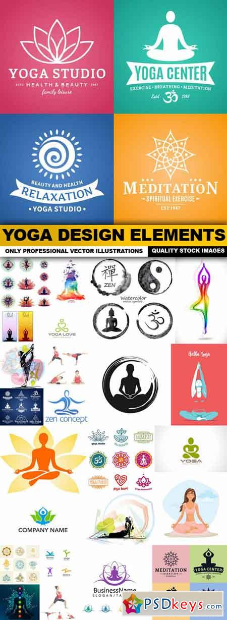 Yoga Design Elements - 25 Vector