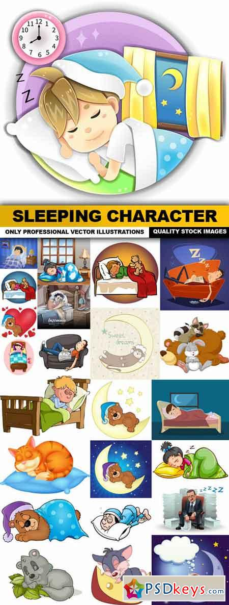 Sleeping Character - 25 Vector