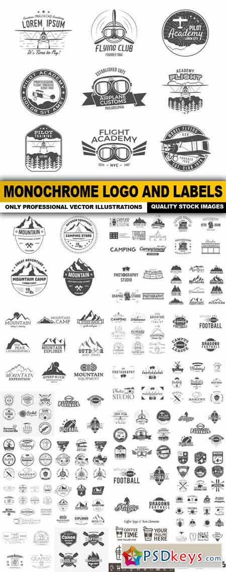 Monochrome Logo And Labels - 25 Vector