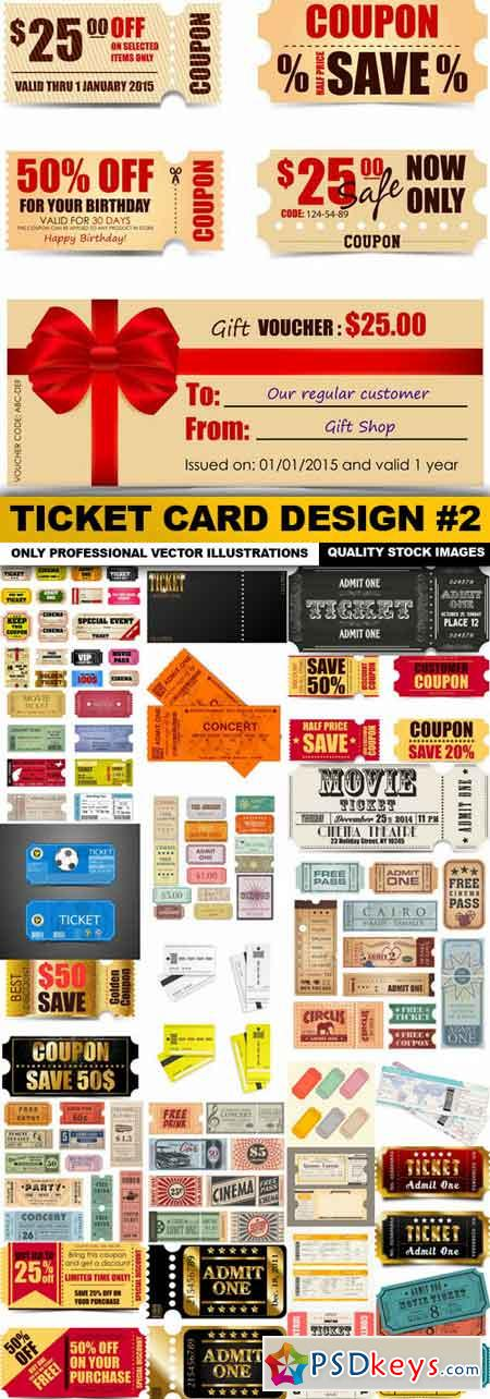 Ticket Card Design #2 - 25 Vector