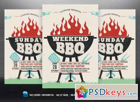 Weekend Sunday Holiday BBQ Flyer 621565