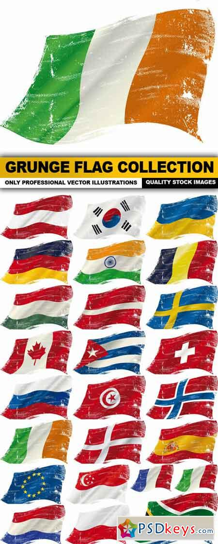 Grunge Flag Collection - 25 Vector