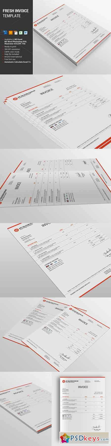 Fresh Invoice Template 638049 » Free Download Photoshop Vector Stock ...