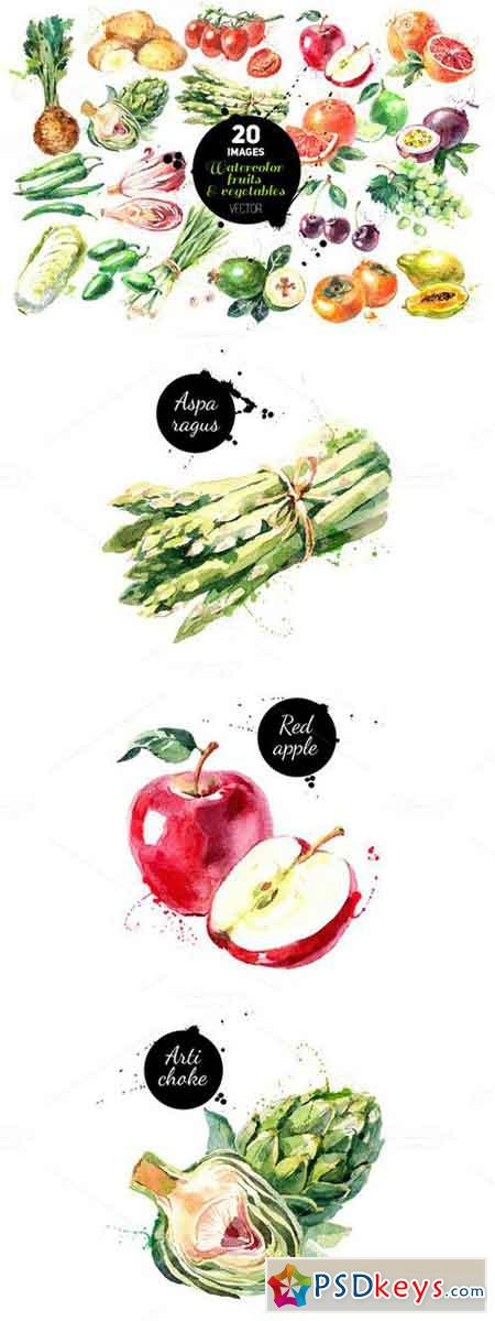 Watercolor Fruits & Vegetables Set 620929