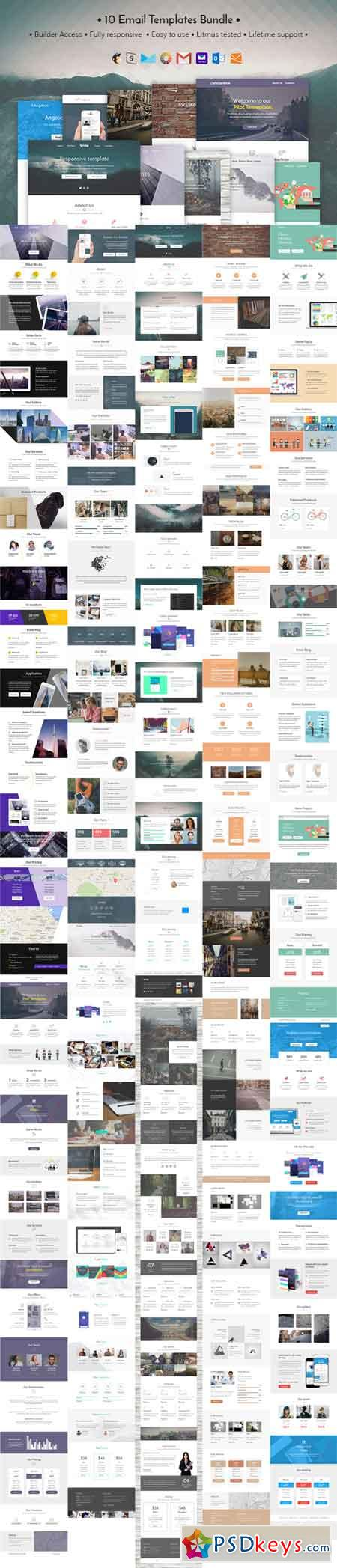 10 Email templates bundle + Builder 655238 » Free Download Photoshop ...