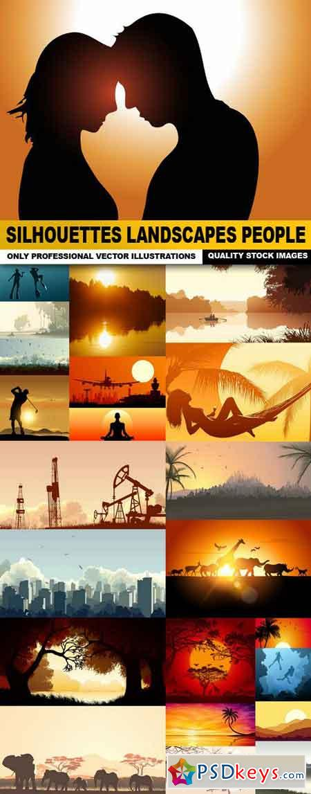 Silhouettes Landscapes People - 25 Vector